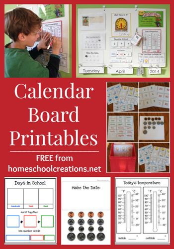Calendar and morning board printables to use during school time to extend learning activities - free printables from homeschoolcreations.net