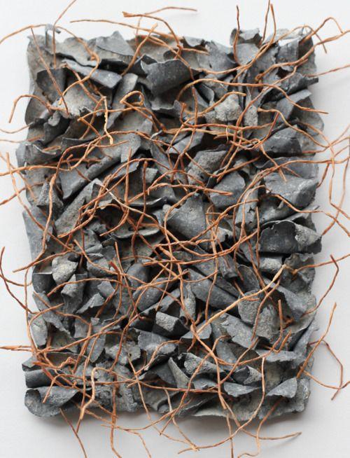awesome . . . artpropelled Ann Goddard Lead, paper yarn, cotton fabric