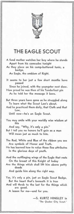 Eagle Scout Poem | The Eagle Scout a/k/a It's Only A Pin by S. Kurtz Hingley, 1930.