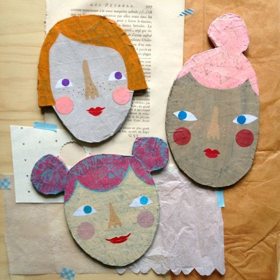 Olive paper mache mixed media face plaque by heartsandneedles
