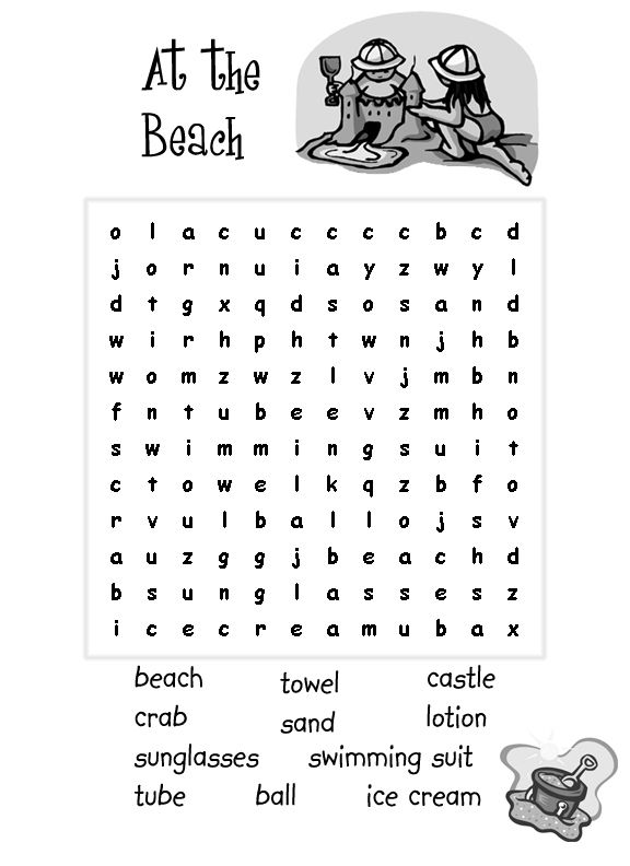 Easy Word Search For Kids Best Coloring Pages For Kids Easy Word Search Summer Words Beach Words