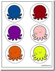 Octopus color cards: Colors Charts, Colors Cards, Matching Cards, Octopuses Colors, Colors Activities, Colors Theme, Octopuses Crafts, Cards Preschool, Colors Matching