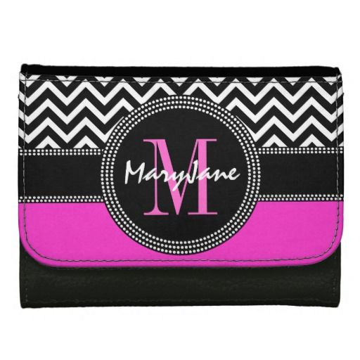 Customizable Hot Pink and Black Chevron Zig Zag Monogrammed wallet