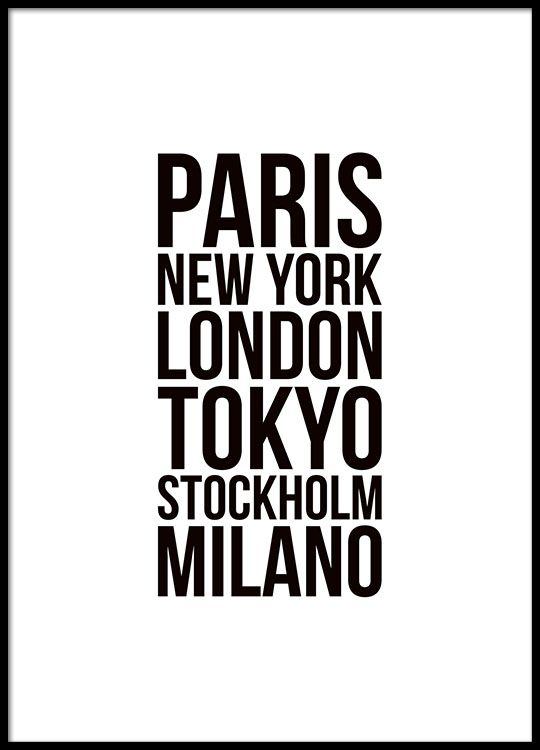 Black and white typography poster with fashion week cities.