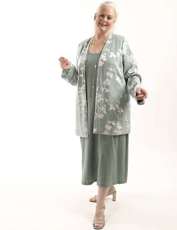 Custom Plus Size Mother of the Bride Jacket Dress Sage, Silver Silk Flora with Diamante by Peggy Lutz Sizes 14 - 28