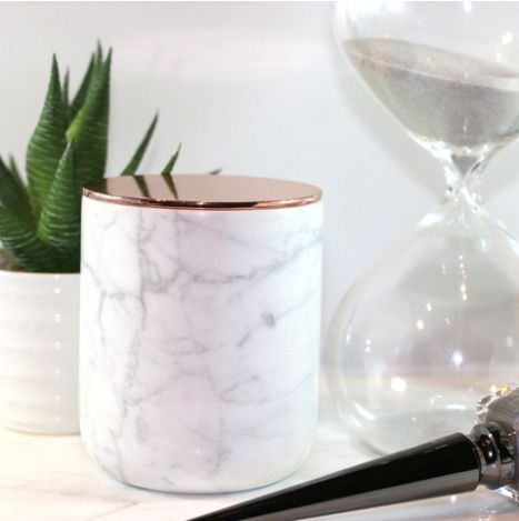 marble + rose gold candle