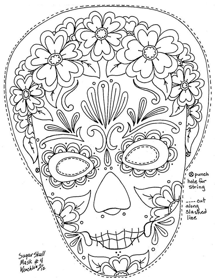 Dia de los Muertos Masks - Yucca Flats, N.M.: Wenchkin's Coloring Pages - Women's Calaca Mask