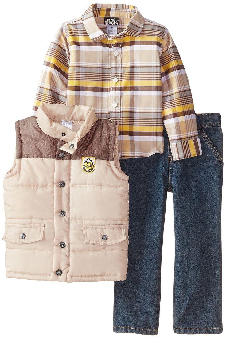 """Amazon.com: Мальчики Rock маленьких мальчиков """"3 ПК Puffy Vest Комплект Плед Denim: Одежда"""