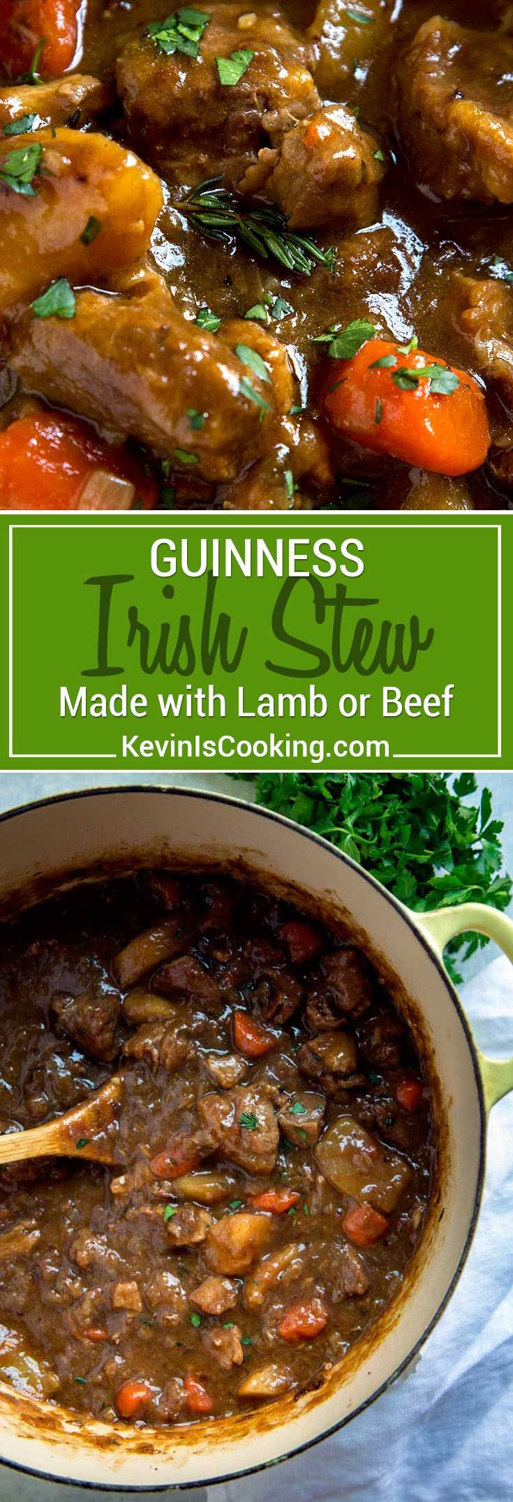 St. Patrick's Day doesn't mean just serving up corned beef. This Guinness Irish Stew is a great alternative with an incredibly rich, thick broth. Lamb or beef get layered with flavors due to a slow braise in Guinness beer, vegetables and herbs. Plus it's made all in one pan! #stew #Irish #Guinness via @keviniscooking