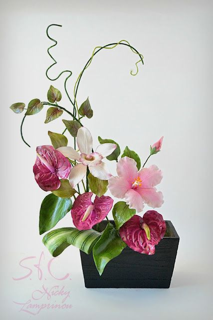 SUGAR FLOWERS BOUQUET Anthurium - orchid - ibiscus