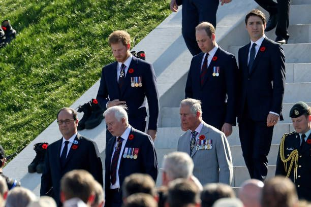 The Prince of Wales The Duke of Cambridge Prince Harry Canadian Prime Minister Justin Trudeau French President Francois Hollande and Governor General...