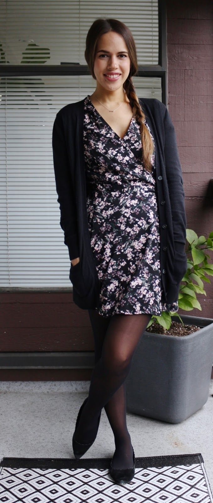 Jules in Flats – Floral Wrap Dress with Cardigan for Work