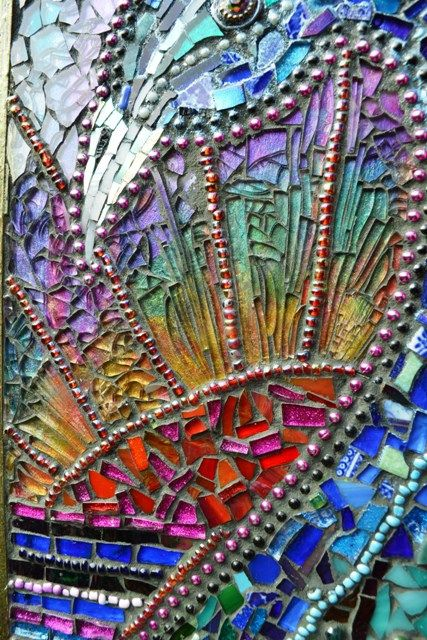 Mosaic Peacock Chest of Draws by Nikkinella, via Flickr - I love the color behond the chards of clear glass in the yellow/green/purple section!  Nice idea!