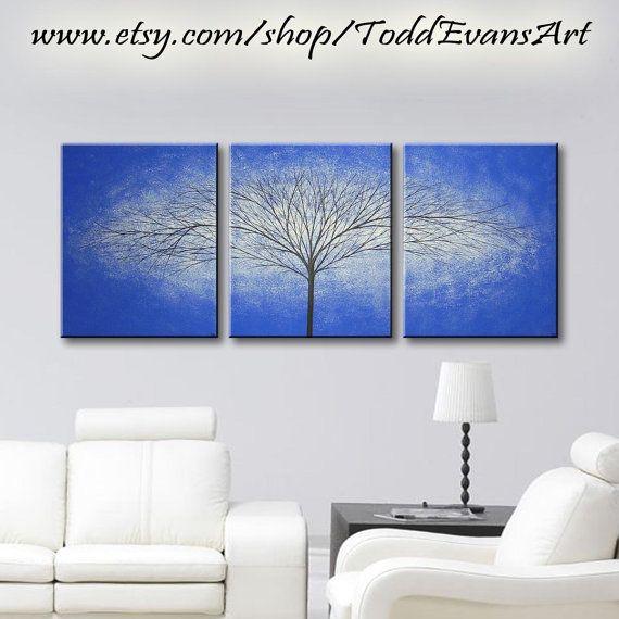 Abstract Art Canvas Art Blue Wall Hangings Original Modern