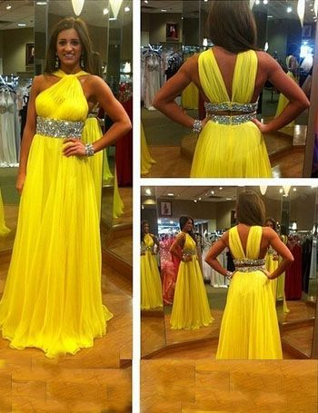 Find More Prom Dresses Information about Gorgeous Halter Beading Long Chiffon Yellow Prom Dresses Party Gowns ,High Quality dress tv,China dresses black Suppliers, Cheap gown bag from SuZhou Louise Trading Co.,LTD on Aliexpress.com