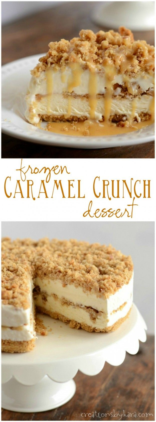 Recipe for Caramel Crunch Torte. A decadent frozen dessert with layers of rich creamy filling, crunchy topping, and caramel sauce. So good!
