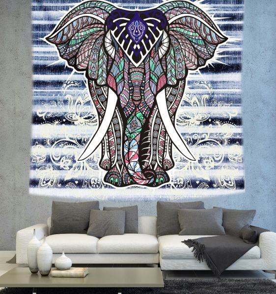 Elephant Wall tapestry Bohemian elephant by Christinedecorshop