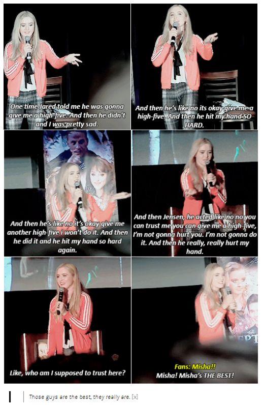 [GIFSETS] Kathryn Newton talking about J2 LOL || Kathryn Newton  #Jensen #Jared #Misha  #Dallascon 2015