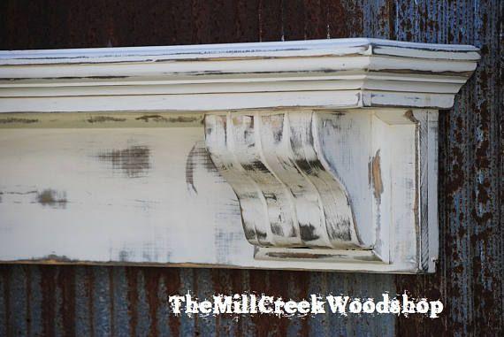 "Ready to Ship Handmade Corbel 60"" Shelf Distressed Fireplace Mantel Floating Shelves Farmhouse Wooden Headboard Rustic Home Decor"