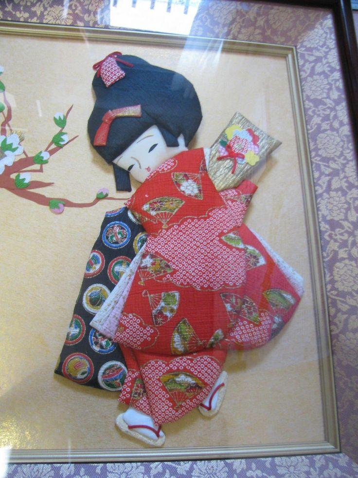 Japanese Traditional Kimono Doll Frame Cloth and Paper Arts   eBay