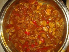 paprika-gulasch-german recipe. Make this a lot. Add a bunch of veggies like peas and corn. Serve over Spaetzle. Yum!