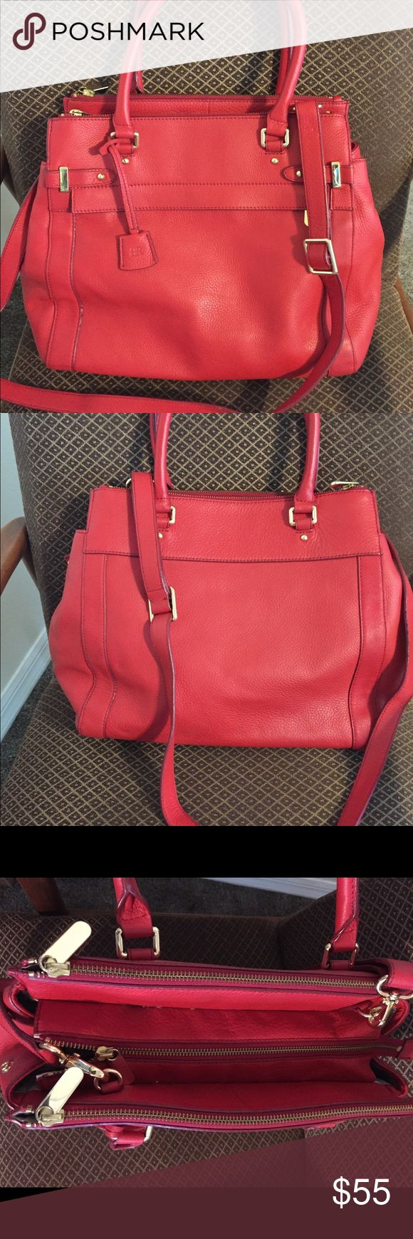 """Banana Republic Red Leather Tote 15 x 12 NEW! Banana Republic Red Leather Tote. 6"""" deep, Long adjustable strap includes. Zipper closure, multiple pockets. Leather is so soft! Banana Republic Bags Shoulder Bags"""