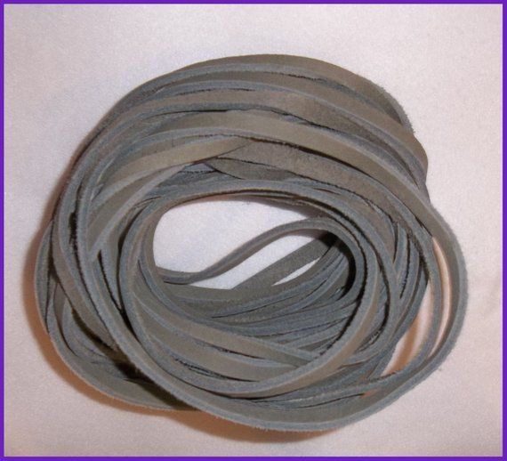 Leather Lace Light Gray By The Yard Lacing Strapping Cord 1 4 To 5 16 Wide 1 8 Inch Thick Leather Lace Leather Grey Leather
