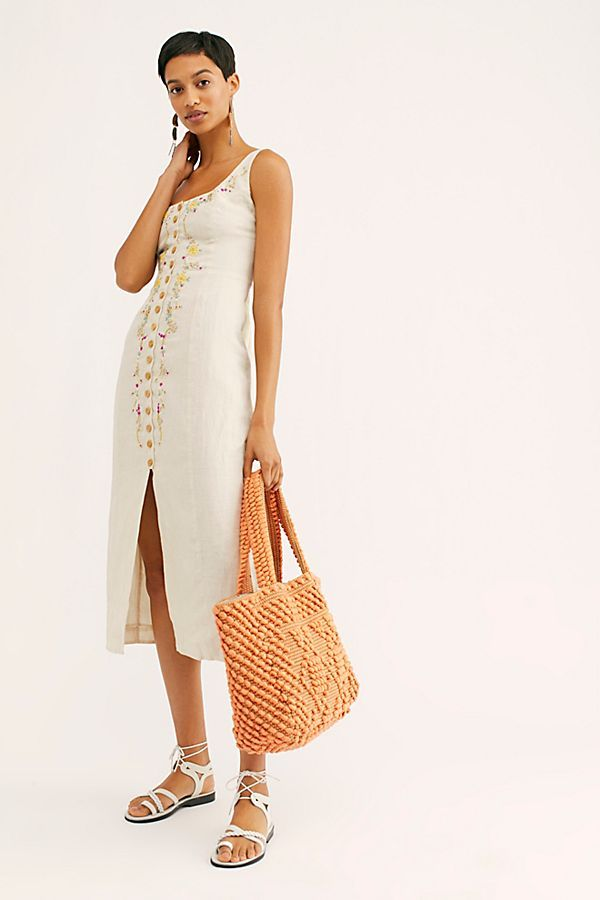 3ef6d5585ab Cherry Bomb Embroidered Midi Dress - Beige Tank Midi Dress with Button  Front and Embroidered Flowers - Beige Midi Dress with Floral Embroidery -  Free People ...