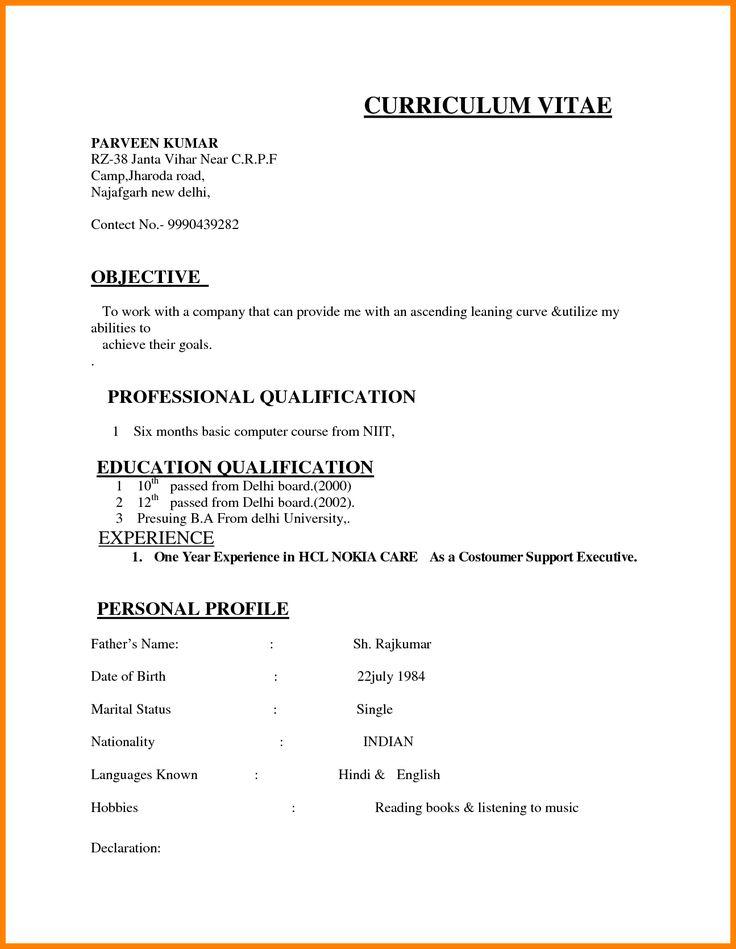 India Resume format download, Job resume format, Basic