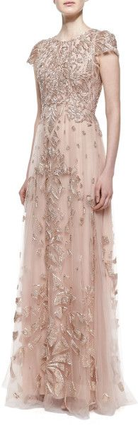 Monique Lhuillier Pink Cap Sleeve Embroidered Tulle Gown Cherry Blossom