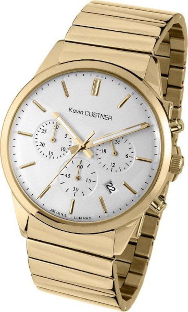 Jacques Lemans KC-103E Men's Watch Chronograph by Kevin Costner With Gold Stainless Steel