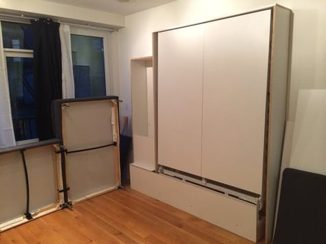 It's not every day we come across a hard-core DIY rock star like Imgur user AvalonAwoken. Moving to a tiny Brooklyn apartment meant that space was at major premium (but so was cash), so rather than shelling out big bucks for a ready-made Murphy bed, AvalonAwoken designed and built this bed and sofa and storage combo for a fraction of the price. All we can say is wow.