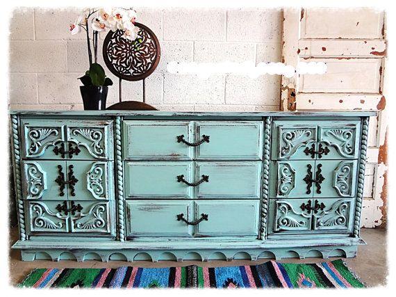 TIFFANY BLUE Dresser Buffet Console ornate by VintageGoodyShoppe