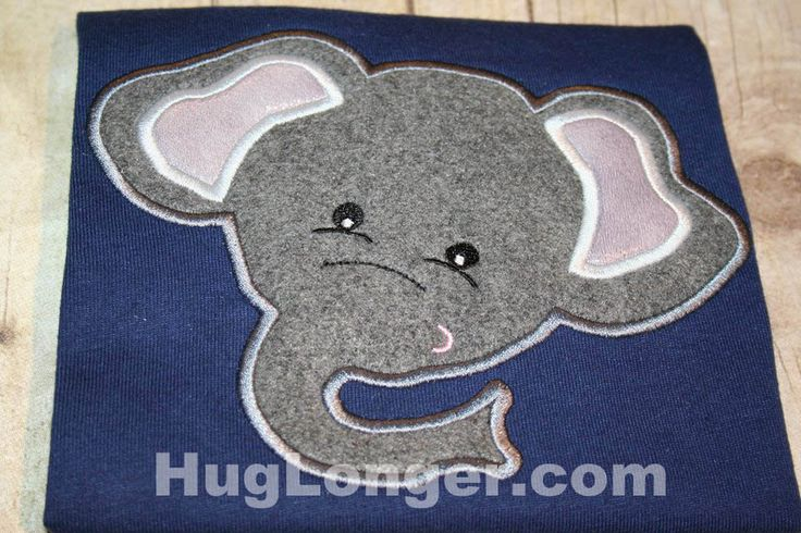 Applique Elephant embroidery file HL1066 animal, zoo, safari by HugLonger on Etsy