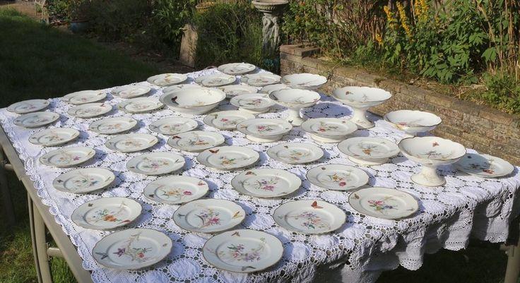 Charles Pillivuyt Medaille d'or Butterfly Dessert Service Paris Porcelain #DessertServicesDessertPlatesComports