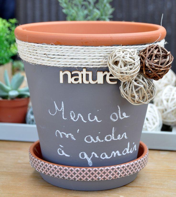 """Cache pot en terre cuite """"Esprit nature"""" avec peinture tableau anthracite : Accessoires de maison par la-deco-de-cri"""