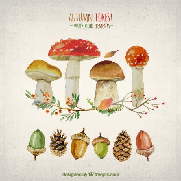 秋の森の水彩要素 無料ベクター