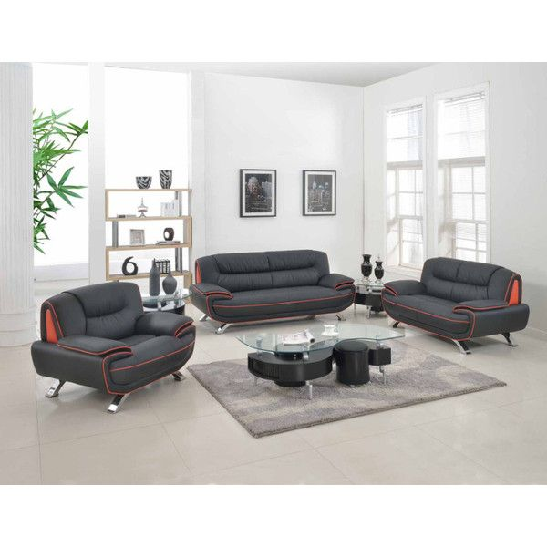 2 pc Shirley II collection modern style black genuine leather      1 050. Best 25  Black loveseat ideas on Pinterest   Salon waiting area