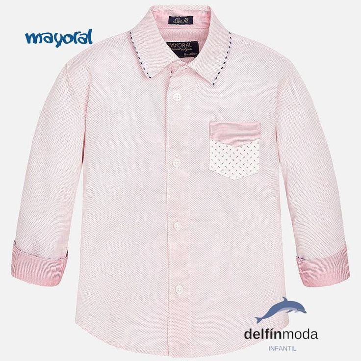 Camisa de niño para bebe de MAYORAL manga larga color lichi topos