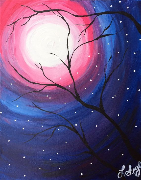 Full Moon  Digital Download acrylic painting by TheRedElephantArt