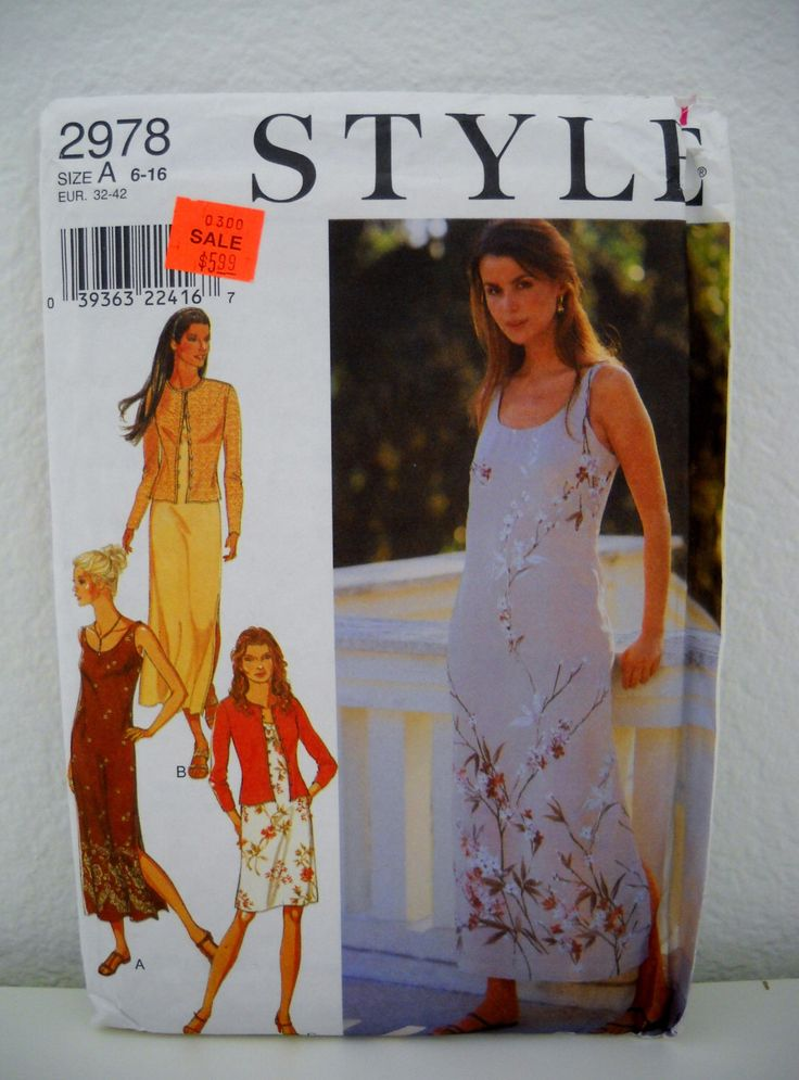 1990s Style 2978 UNCUT - Cardigan and Dress Pattern by LittleLov on Etsy https://www.etsy.com/listing/121535707/1990s-style-2978-uncut-cardigan-and