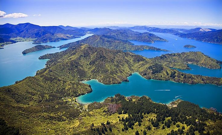 Queen Charlotte Sound, right, Kenepuru, left,  see more at New Zealand Journeys app for iPad www.gopix.co.nz