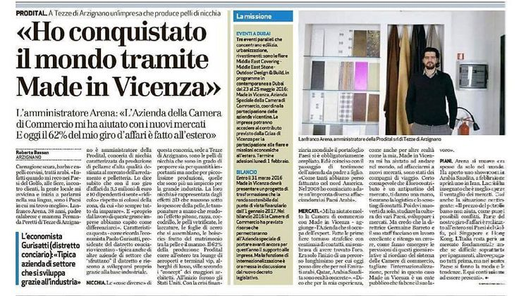 Prodital Leathers / Giornale di Vicenza  #prodital #proditalleathers #gdv #newspaper #press #madeinitaly #madeinvicenza #leathers