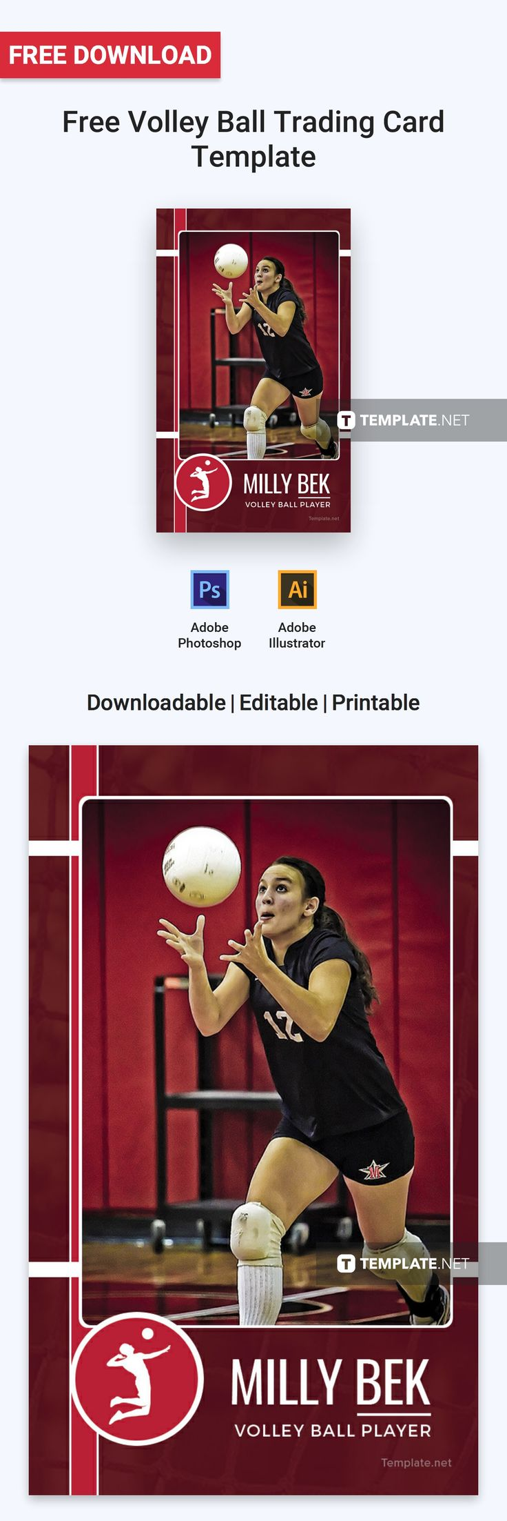 Free volley ball trading card trading card template