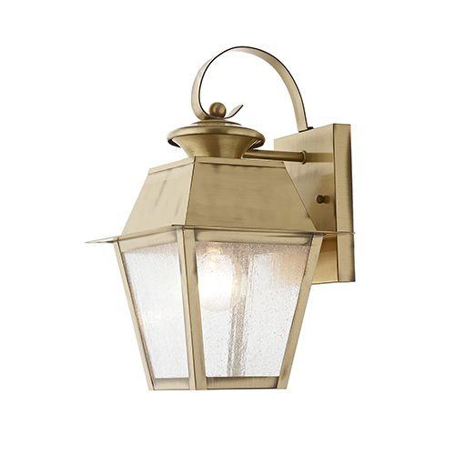 Mansfield Antique Brass 7 5 Inch One Light Outdoor Wall Lantern Brass Outdoor Lighting Outdoor Wall Lantern Wall Lantern