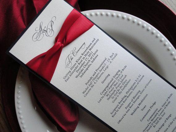 Black blush navy glitter shimmer ceremony program wedding