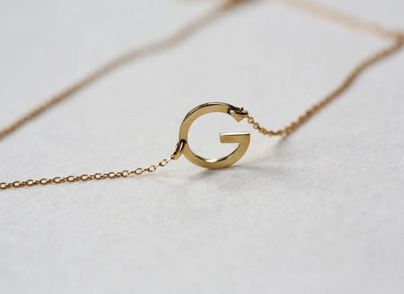gold initial letter necklace 14k gold letter necklace sideways initial necklace sideways letter necklace custom letter necklace
