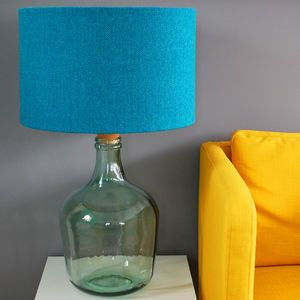 Glass Bottle Lamp Base With Harris Tweed Lampshade - bedside lamps
