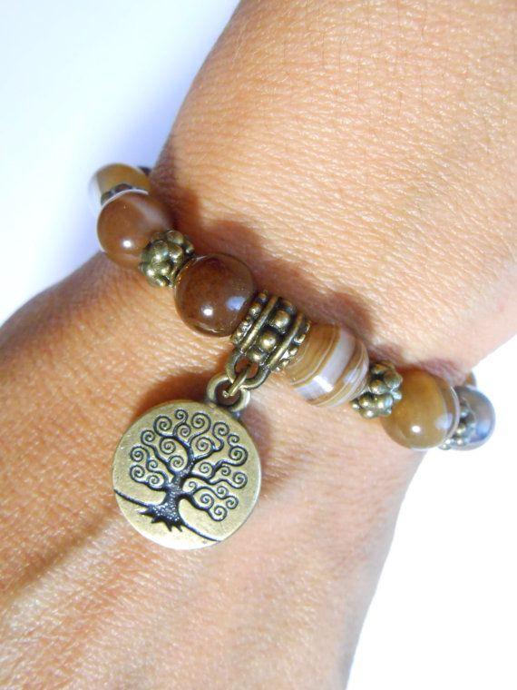 Tree Of Life Mala Bracelet Yoga Jewelry Bohemian Agate
