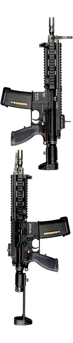 "HK416C is a compact variant of the HK416 with a 9"" barrel and shortened extension tube. It was designed for the UK Special Forces."